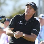 Phil Mickelson tees off on the 1st hole during the final round of the CareerBuilder Challenge, January 24, 2016.
