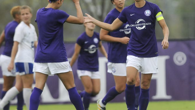 Alex Morgan, right, shown here in an Orlando Pride preseason match last month in Melbourne, Fla., was a rookie forward for the WNY Flash in 2011. She's a captain now for the NWSL expansion Orlando Pride, who host the Flash Saturday at 7:30 p.m.