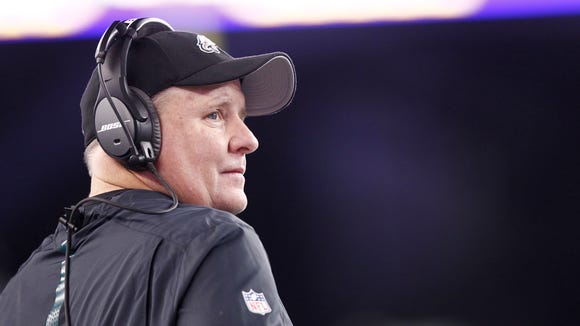 Dec 6, 2015; Foxborough, MA, USA; Philadelphia Eagles head coach Chip Kelly looks on from the sidelines during the second half against the New England Patriots at Gillette Stadium. Mandatory Credit: Mark L. Baer-USA TODAY Sports