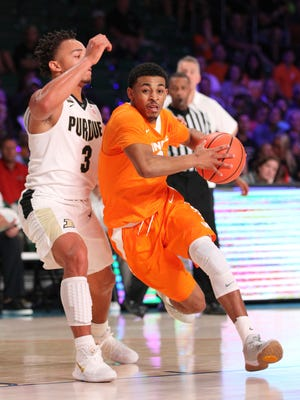 Tennessee guard James Daniel III drives to the basket against Purdue.