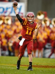 Redshirt senior quarterback Kyle Kempt (17) passes