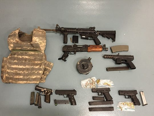 Guns seized by state troopers on March 11.
