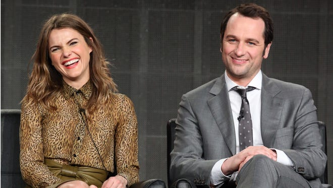 Keri Russell and Matthew Rhys speak at 'The Americans' panel at FX's portion of the Television Critics Association press tour on Jan. 18, 2015, in Pasadena, Calif.