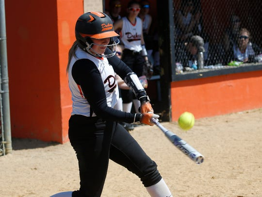 Marlboro's Shannon Camuso gets a hit during Saturday's