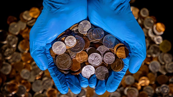 Coin shortage photo illustration photographed on Tuesday, June 23, 2020, in Oklahoma City, Okla.