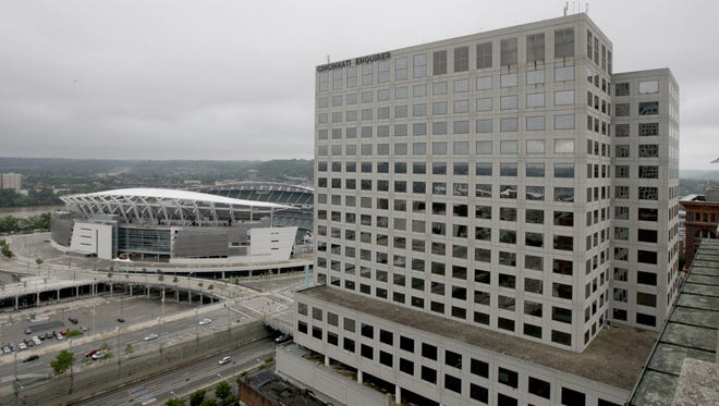 A view from the roof of The Reserve at 4th and Race downtown.This is looking southwest showing Paul Brown Stadium and The Enquirer building at 312 Elm Street.