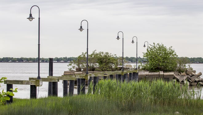Remnants of the dock in Battery Park in New Castle are shown on May 21.