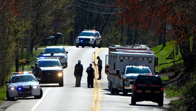 Pennsylvania State Police investigate a fatal accident on Seven Valleys Road in Codorus Township, Friday April 15, 2016. John A. Pavoncello photo