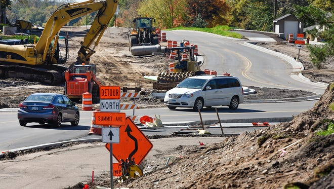 Construction continues Wednesday, Oct. 5, on widening Second Street North near Summit Avenue North in Sauk Rapids. Benton County and Sauk Rapids officials expect Second Street North to be open by the end of the month.