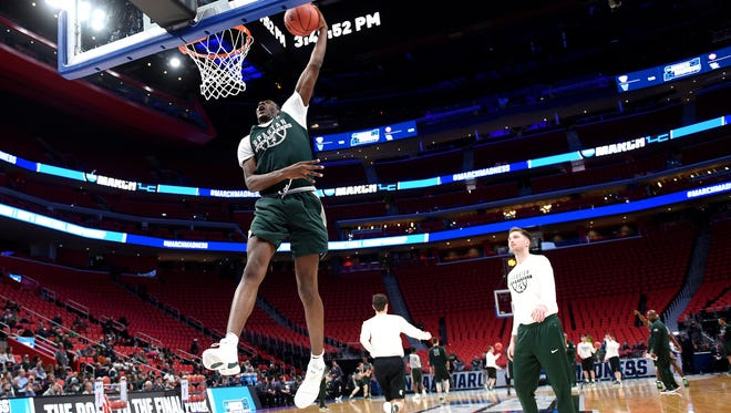 Michigan State's Jaren Jackson Jr. dunks during an open practice on Thursday, March 15, 2018, at the Little Caesars Arena in Detroit.