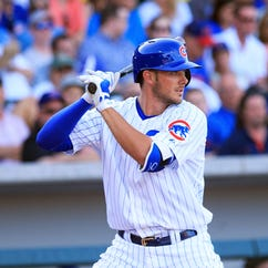 Mar 26, 2015; Mesa, AZ, USA; Chicago Cubs outfielder Kris Bryant (76) at bat during a spring training game against the Los Angeles Angels at Sloan Park. Mandatory Credit: Allan Henry-USA TODAY Sports