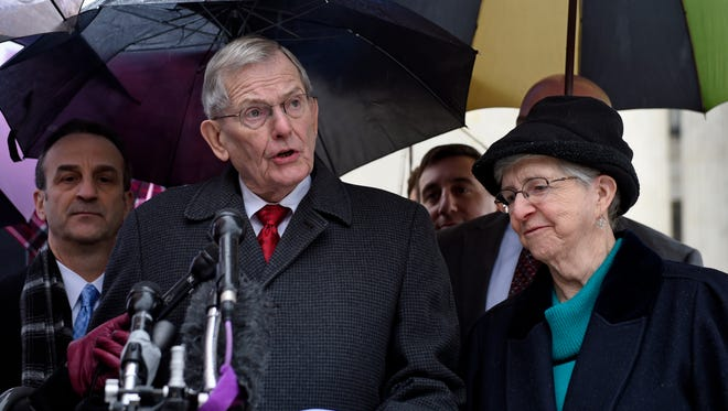 Good News Community Church Pastor Clyde Reed speaks outside the Supreme Court in January.