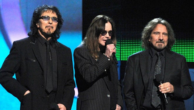 Black Sabbath (from left, Tony Iommi, Ozzy Osbourne and Geezer Butler) will perform on Sept. 2 at Klipsch Music Center.