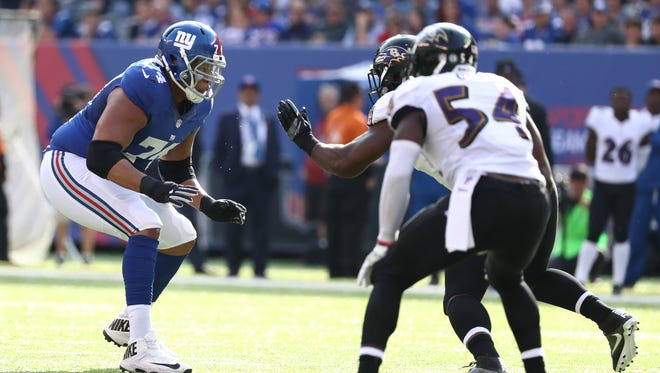 Ereck Flowers #74 of the New York Giants in action against the Baltimore Ravens during their game at MetLife Stadium on October 16, 2016 in East Rutherford, New Jersey.