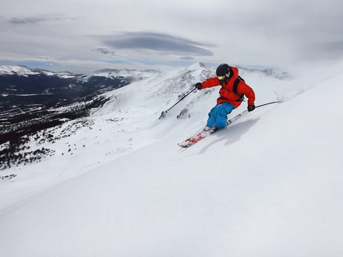 A skier tackles the new Peak 6, which is described as a