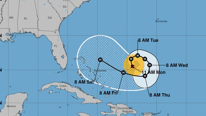 The unusual forecast track for Hurricane Jose shows it doing a loop in the western Atlantic Ocean over the next several days.