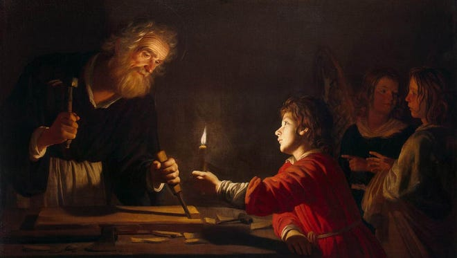 """St. Joseph the Carpenter"" by Gerrit van Honthorst, 1620, oil on canvas. As Jesus was apprentice to St. Joseph in carpentry, so we must apprentice ourselves to Christ."