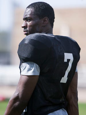 Defensive Back Rayshaun Kizer of the Arizona Rattlers during practice at the Gene Autry Sports Complex in Mesa on March 11, 2015.