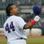 Manny Ramirez makes his debut at Principal Park in Des Moines, Iowa against the Omaha Storm Chasers June 30, 2014.