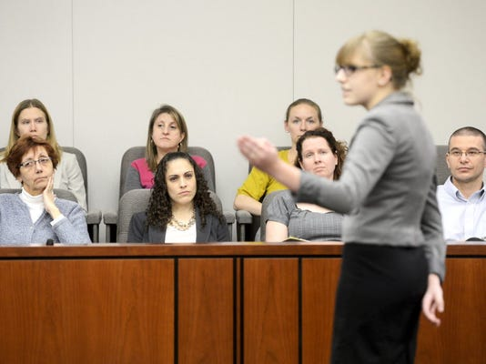 Becky Wiest, of Spring Grove, presents the prosecution's opening statement to the jury during a mock trial competition at the York County Judicial Center in 2013. (file photo)