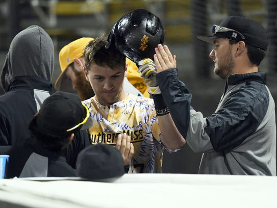 Southern Miss sophomore Matthew Guidry tcelebrates