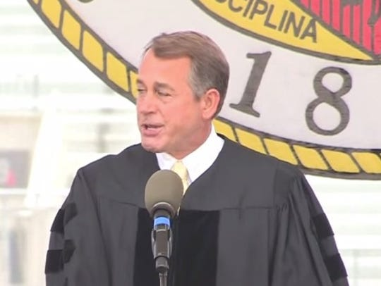 Boehner gets emotional during speech to Ohio State