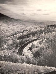 Clinchfield Railroad near Little Switzerland, 1948. Photo by Elliot L. Fisher.