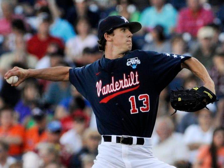Vanderbilt pitcher Walker Buehler delivers against Virginia on Monday in Omaha, Neb.
