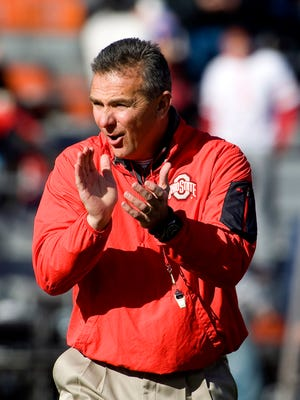 Nov. 14, 2015; Champaign, Ill.; Ohio State Buckeyes football coach Urban Meyer prepares his team for the game against the Illinois Fighting Illini at Memorial Stadium.