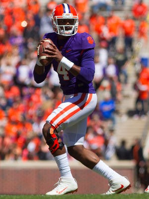 Clemson Tigers quarterback Deshaun Watson (4) looks to pass the ball during the first quarter of the spring game at Clemson Memorial Stadium.