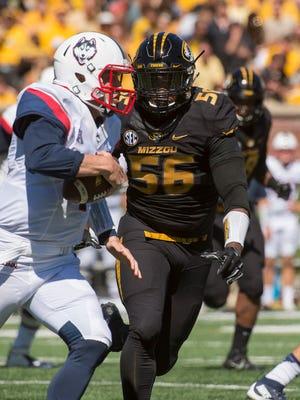 Missouri defensive lineman Walter Brady (56)  has 11 tackles for loss and seven sacks as a redshirt freshman.