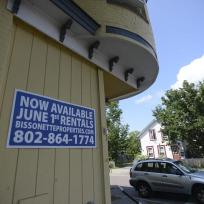 A sign advertises an available apartment rental on the corner of Sherman and Park streets in Burlington on Friday afternoon.
