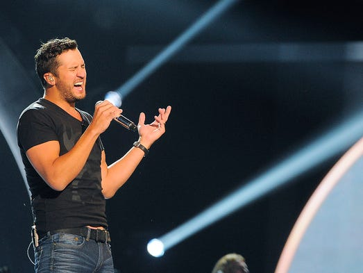 Luke Bryan rehearses for his part in the ACM Awards that take place on Sunday. Friday April 4, 2014, in Las Vegas, NV.