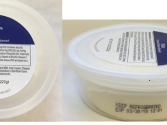 Image shows Panera Bread cream cheese product subject to recall over listeria concern.