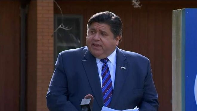 Gov. JB Pritzker announces that he is extending a statewide moratorium on residential evictions during a news conference in Elgin where he also announced $30 million in pandemic relief funding for services that target the state's immigrant community.