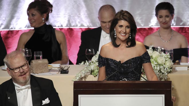 U.S. Ambassador to the United Nations Nikki Haley delivers the keynote speech during the annual Alfred E. Smith Memorial Foundation dinner, October 18, 2018 in New York City. The annual white-tie dinner raises money for Catholic charities.