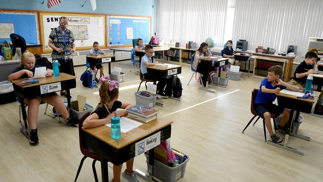 Holy Ghost Lutheran School third/fourth grade teacher Karen Durham spaced the students' desks several feet apart due to COVID-19 restrictions. The school began the 2020-21 school year Aug. 24.