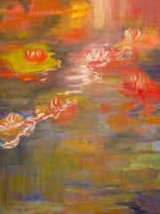 """""""Loving Monet"""" (detail) is a 36- by 40-inch oil painting by Susan Hanning."""