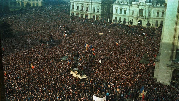 Thousands fill downtown Bucharest, Romania, on Dec.
