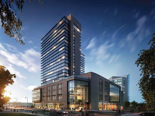 A rendering of the 600-room Hyatt Regency hotel planned