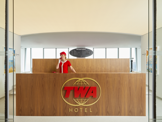 The TWA Lounge's reception desk modeled after Jet Age
