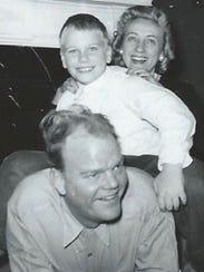 A 1950s-era photo of Paul Harvey, Paul Harvey Jr. and
