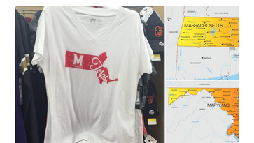 Walmart mistakenly printed an outline of Massachusetts on a University of Maryland shirt.
