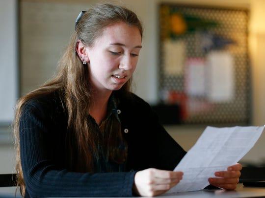 Willard High School senior Kira Ray reads her entry