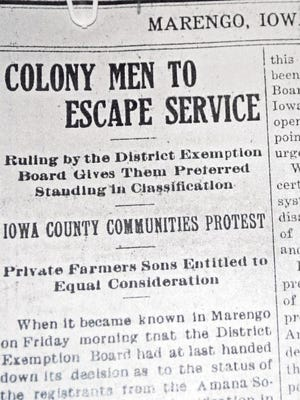 As America became involved in World War I, the Marengo Sentinel newspaper reflected the county's feelings toward the Amana Colonies.
