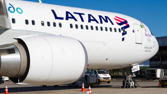 A LATAM Airlines Boeing 767-300ER -- the first to be painted in the company's new paint scheme flew from Brazil to Switzerland on May 1, 2016, on a special flight to collect the Olympic torch ahead of the 2016 Summer Games to be held in Brazil.