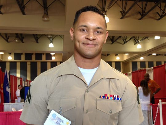 U.S. Marine Cpl. Daniel Kinney was honored during the 5th Annual Veterans Expo in the Fullenwider Auditorium at the Riverside County Fairgrounds in Indio on Saturday, Oct. 11, 2014.