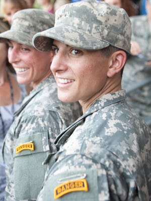 Capt. Kristen Griest, right, and 1st Lt. Shaye Haver with their Ranger tabs after the Aug. 21, 2016, graduation ceremony of the U.S. Army's Ranger School at Fort Benning, Ga.