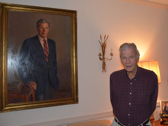 Former Gov. Harry Hughes is shown with his official
