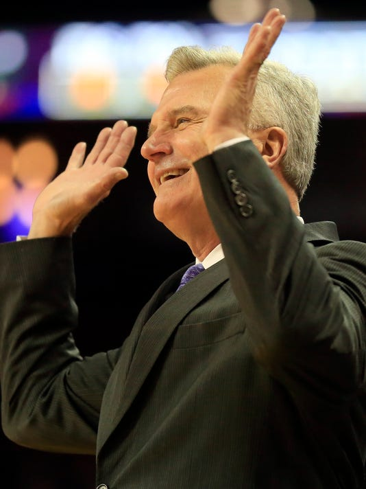 Kansas State head coach Bruce Weber smiles at a call during the first half of an NCAA college basketball game against Tulsa in Wichita, Kan., Saturday, Dec. 9, 2017. (AP Photo/Orlin Wagner)